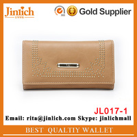 New model women PU leather purse bead button ladies wallets with trifold