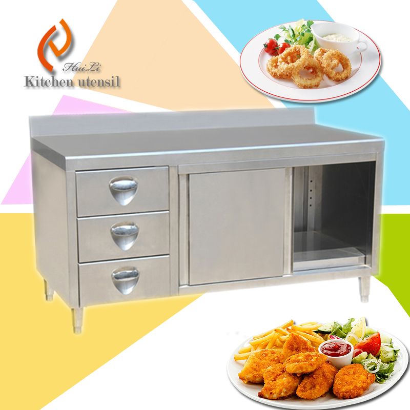 Three tiers Separated assembled European style stainless steel ktichen cabinet for vintage with drawers backsplash front board