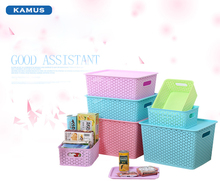 Kamus brand Customized Large Clothing Storage Container Flat Plastic large capacity Storage Boxes with Lid