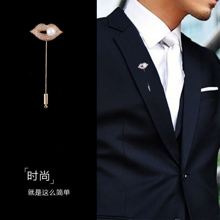 Personality Crystal Lips Ladies Platinum Plated Gold Men's Suits Brooch