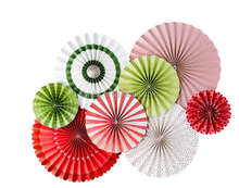 UMISS 8pcs Rustic Christmas Party Decorations, Green White Red Paper Fans, Xmas Pinwheel Rosettes