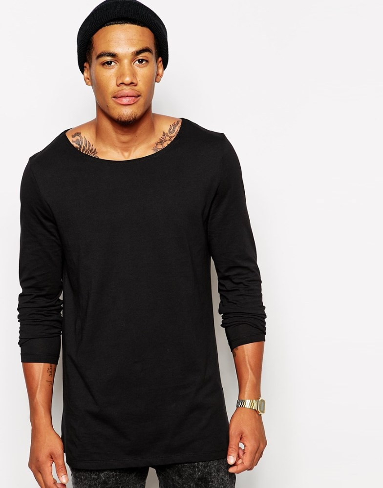 Men Long Sleeves Fashionable Plain Black T-shirt - Buy Plain Black ...