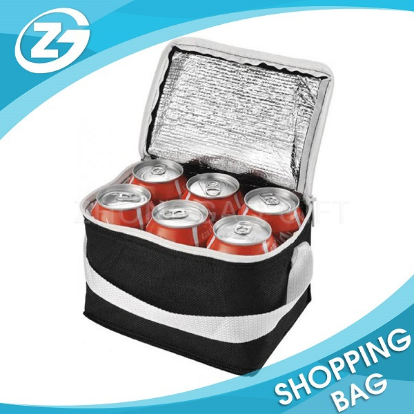 Recyclable Polyester Top Zipper Insulated Beer Cooler Tote