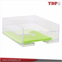 2 tier office acrylic stackable desk letter tray,office desk tray/Stackable Desktop Leather Letter Organizer Holder Tray