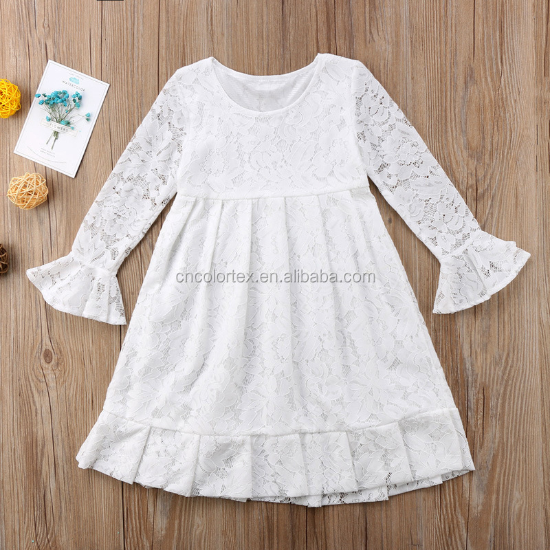 long sleeve lace girls party dress soft baby girl dresses frocks dress for 3-10years kids