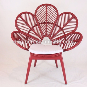 Contemporary unique patio products with bird tail shaped backrest peacock chair rattan