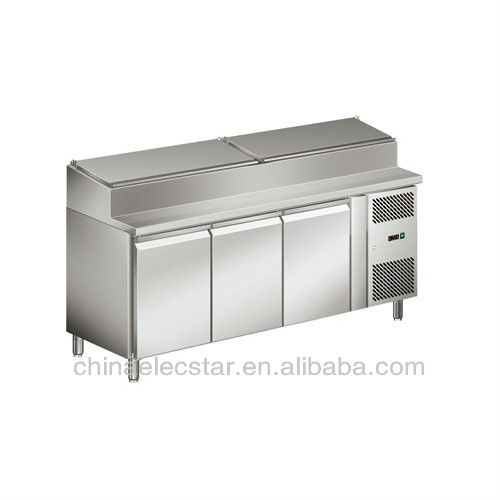restaurant kitchen refrigerator,refrigerated kitchen cabinets for pizza display with stainless steel body,pizza counter