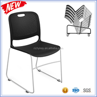 2016 Excellent Full Stacking Connectable Plastic Visitor Chair With Wire Frame Sled Base