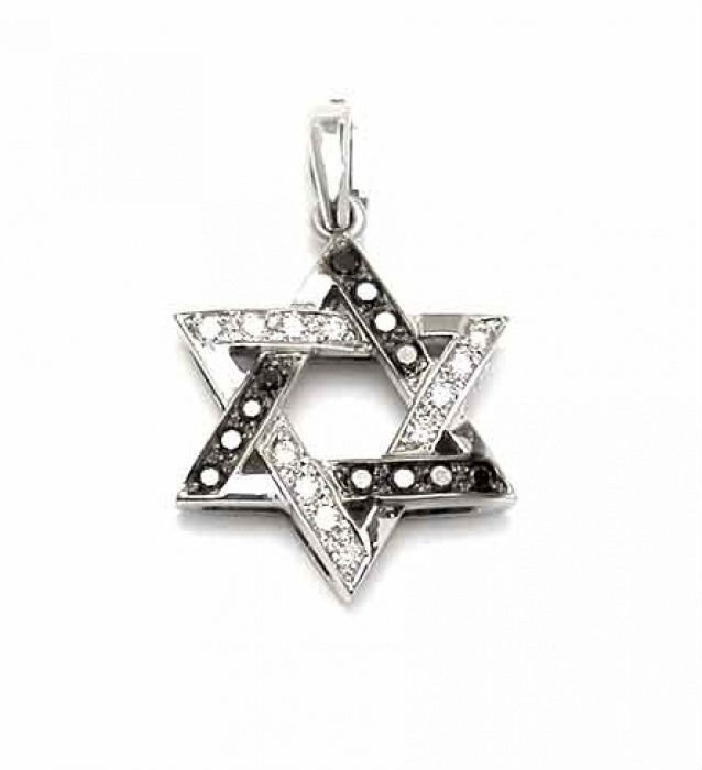 Modern David Star Pendant, 14K White Gold and black and white natural round cut Diamonds 0.2 carats, Judaica