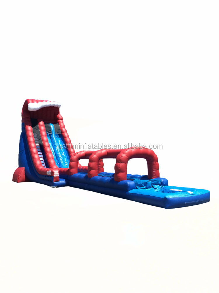 commercial big crush inflatable slip and slide, inflatable water slide with pool for sale