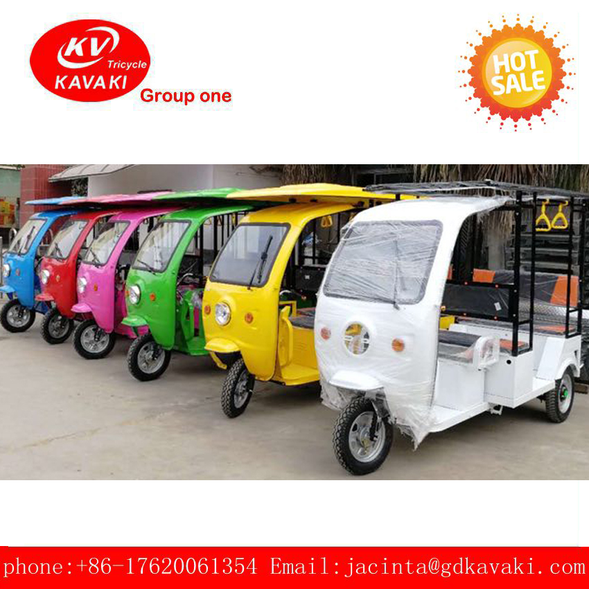 2018 High Quality KAVAKI Solar Electric Motorized Tricycle Adult For Passenger