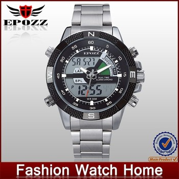 2015 Latest stainless steel back watch case led watch men style