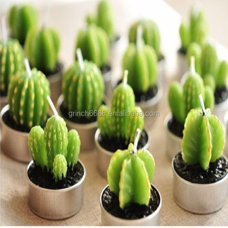 Novelty Cute Cactus Shape Candle Light Promotional Luminara Candle