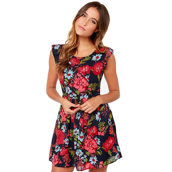 Women Vintage Floral Print Hollow Out Chiffon Dress 2015 Summer Style Ladies Fashion Pleated Above Knee Dresses Puls Size