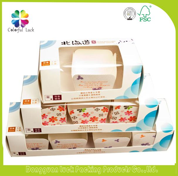 New Design Custom Printed Cupcake Boxes, Paper Donut Packaging Box with Clear Window