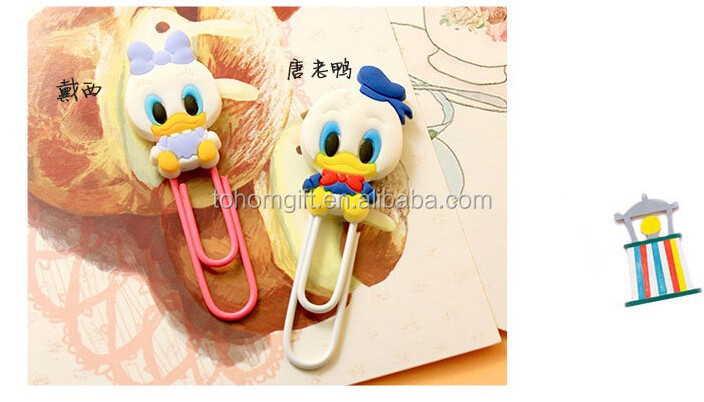 Lovely 3d silicone bookmark with paper clips rubber bookmark metal cilp