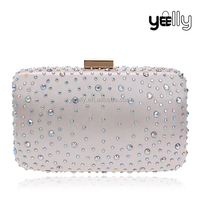 Hard case clutch evening bag with rhinestone decoration