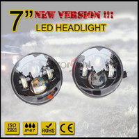 "New version round 45W 7"" Black headlight led 7inch motorcycle head light driving lamp"