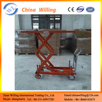 light weight hand hydraulic scissor warehouse trolley cart lift