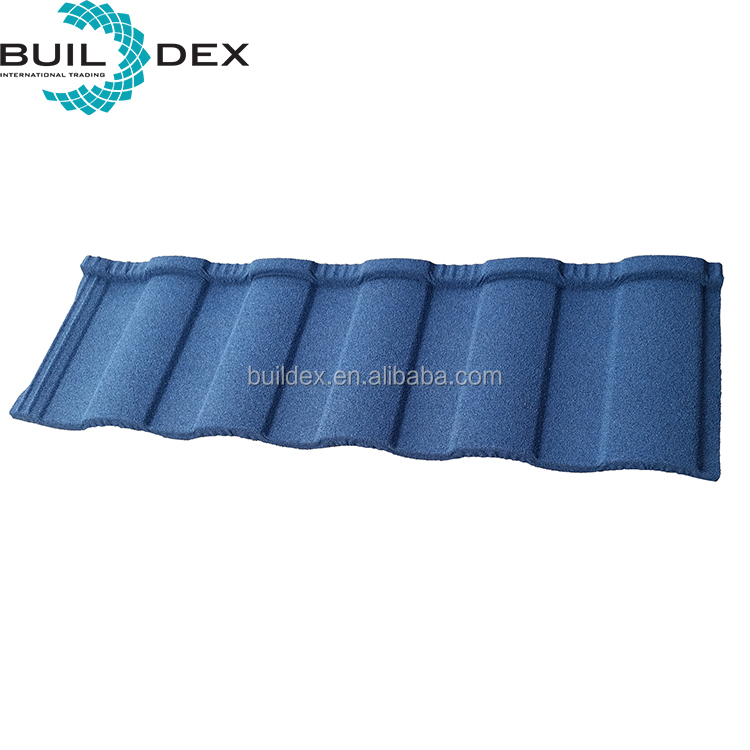 High quality building material blue colored stone coated steel roman sand stone coated metal roofing tile for house