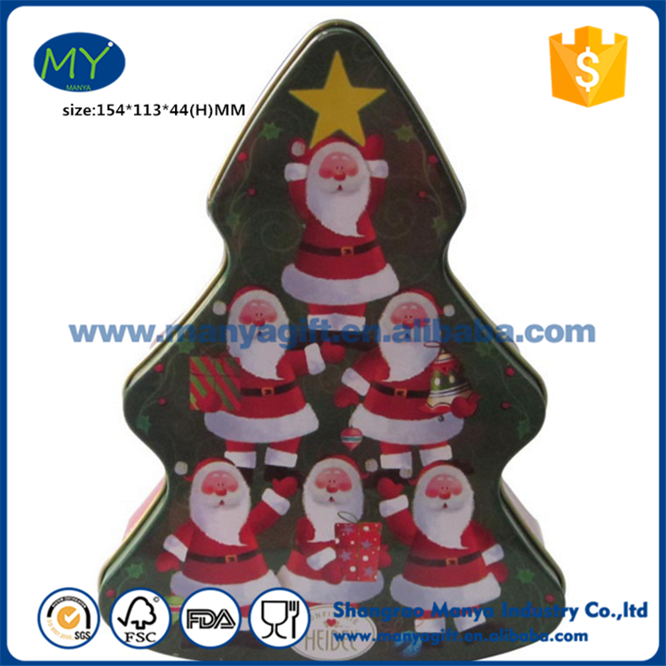 Hot Sell Christmas Tree Shaped Gift Tin Box,Christmas Gift Tin Box of ISO9001 Standard