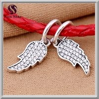 Zircon jewlery Angel wing charms wholesale clear CZ pave dangle charm