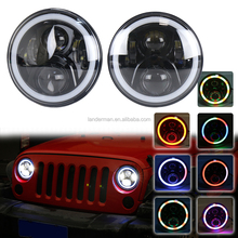 Hot sale 7inch Headlamp RGB Halo Angel Eyes Headlight with Bluetooth Remote For J-eep Wrangler JK Hummer L-and rover defender