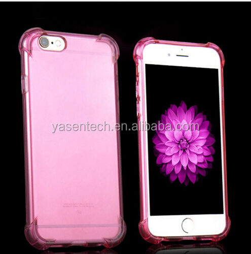 "Anti Knock phone case Clear Crystal TPU & PC Soft Rubber Cover Case for Iphone 6 4.7""/ 5.5"" Full Protect Shell"