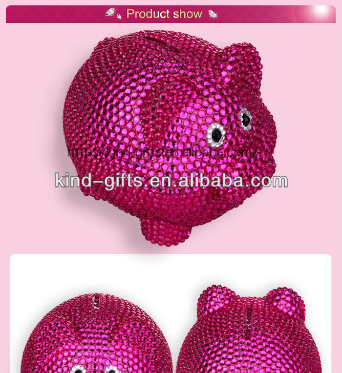 Hot Sale Christmas Gift Bling Rhinestone Baby Piggy Bank With Crystal China Supplier