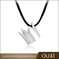 OUXI 18K Gold Plated Jewelry Black String Silver Crown Necklace