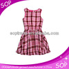 2015 high quality fashion plaid round neck fancy frocks design for girls