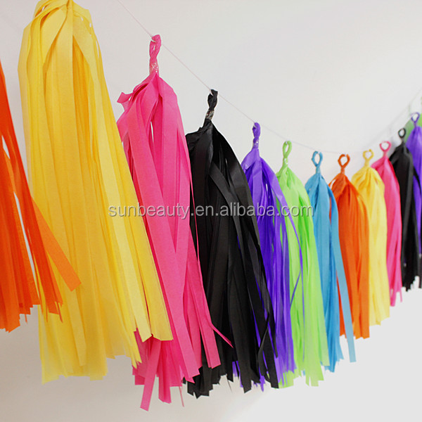 DIY Handmade Tissue Paper Tassel Garland For Wedding