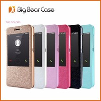 Silk texture leather flip cell phone cover for huawei x7