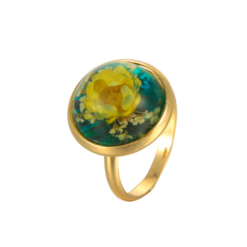 Top fashion wholesale dried flower inside female gift resin ring gold
