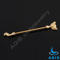 24k stainless steel andodized gold body jewelry fox industrial piercing barbell
