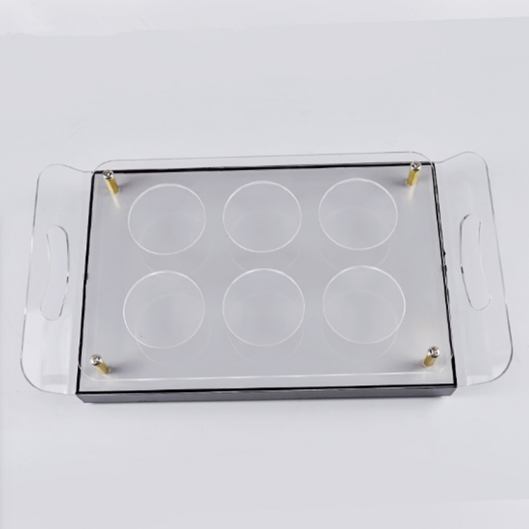 Rechargeable durable led illuminated acrylic barserving tray with handle