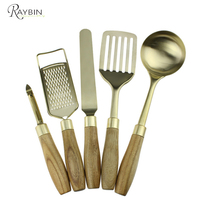 Best selling products 2017 in usa 5 piece stainless steel wood kitchen utensil set
