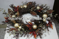 Fake leaves garland, flowers wreath for Christmas Day