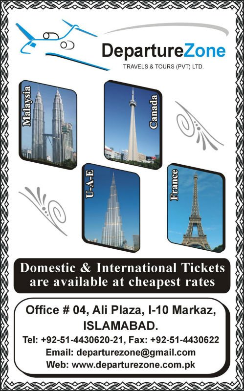 '''DEPARTURE ZONE TRAVELS & TOURS (PVT) LTD. ISLAMABAD, PAKISTAN.