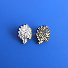 metal antique silver Indian head lapel pins souvenir