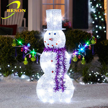 Outdoor christmas decoration metal snowman ornament buy for Large outdoor light up christmas ornaments
