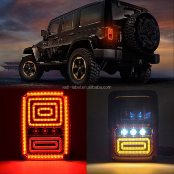 US& EUR version LED Rear Tail Lights Jeep wrangler Brake Parking Light LED Tail Light With Brake Turning Reverse