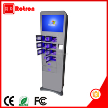 High quality 19 inch touch screen mobile cell phone ipad charging kiosk by free payment and cash payment
