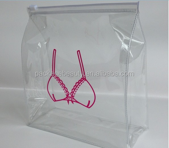 Clear Soft PVC Plastic Underwear Bra Packaging Bags With Zipper Closure