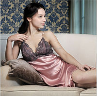 hot sale korea style women's Transparent sexy silk nightgown