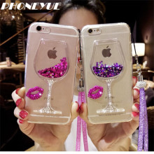 New Design Red Wine Glass Red Lips Liquid Quicksand Glitter Transparent Phone Case Hard Back Cover For Lenovo For Sony