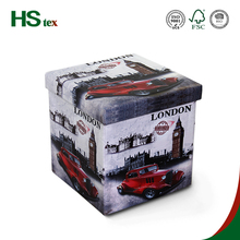 HStex PVC leather printing home furniture square folding storage stool