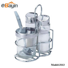 Stainless steel holder glass spice jar rack set with metal spoon
