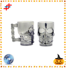 Circleware Clear Heavy Base Glass Skull Face Drinking Mug cup with Glass Handles