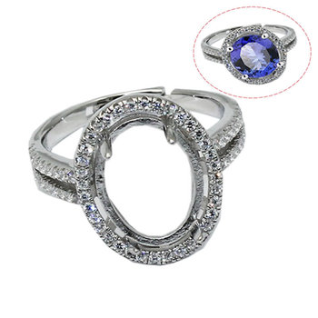 Beadsnice ID30640 925 silver ring setting adjustable US ring size 7 to 9 fit 17.5x14mm oval gemstone sold by PC silver rings